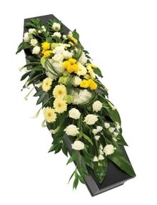Yellow and White Casket Spray.